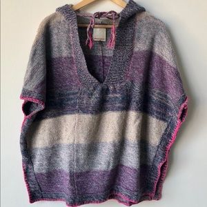 Rebecca Taylor wool/cashmere hoodie poncho sweater
